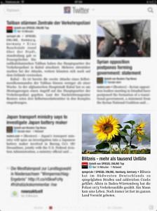 Bildauswahl und Automatismus: Spiegel-Online auf Flipboard: Blitzeis - mehr als tausend Unfälle
