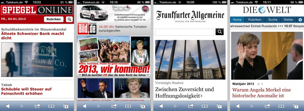 Bildqualität mobiler Newsseiten, v.l.n.r. m.spiegel.de, wap.bild.de, m.faz.net und m.welt.de