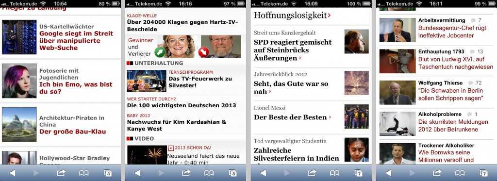Bildqualität mobiler Newsseiten, Screenshots