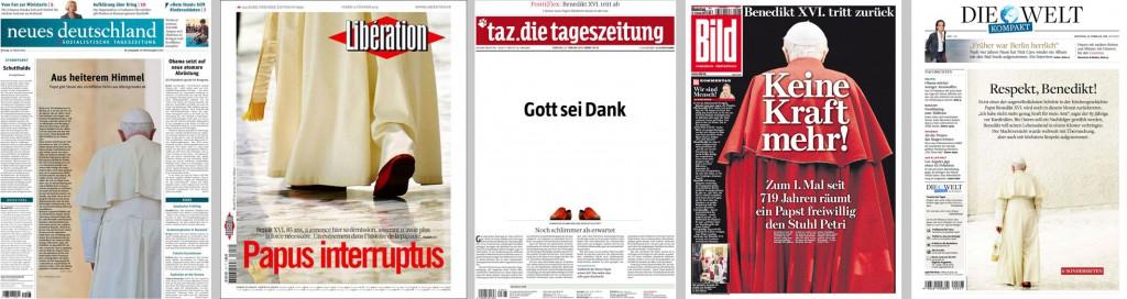 Titelseiten vom 12.02.2013: Neues Deutschland, Liberation, taz, BILD, Die Welt